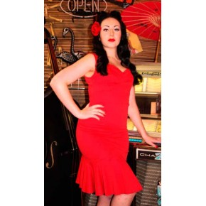 Emmy - Red Flounce Dress
