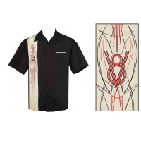 Steady Clothing - Black V8 Pinstripe Shirt