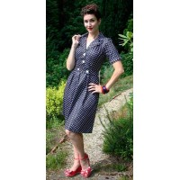 Classic Gracie Navy Polka Dress