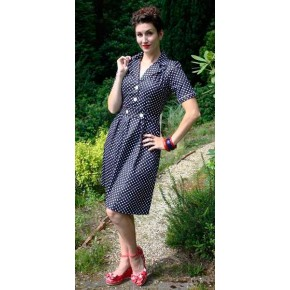 Gracie Navy Polka Dress