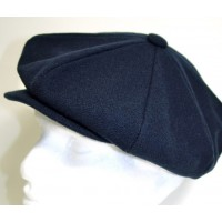 Navy Blue Wool Baker Boy Cap
