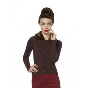 Cardigan - Brown Faux Fur Collar
