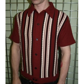 Classic Claret Striped Knitted Shirt