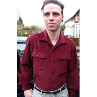 Burgundy Corduroy long Sleeved Shirt