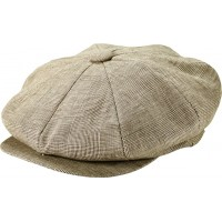 Classic Tan Plaid Linen Baker Boy Cap