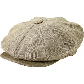 Classic Tan Plaid Linen Baker Boy Cap