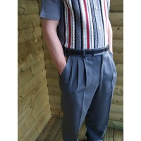 Triple Pleat Peg Trousers - Grey