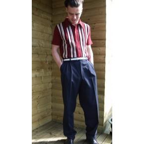 Navy Blue Triple pleat Trousers