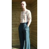 Bottle Green High Waisted Trousers 'Pegs'