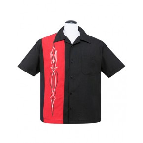 Steady Clothing - Black/Red Hotrod Pinstripe Shirt