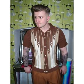 Brown Diamond Knitted Shirt