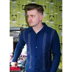 Long Sleeve Blue Knitted Shirt