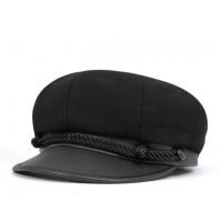 Black Wool Brando Cap
