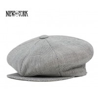 Grey Plaid Linen Baker Boy Cap