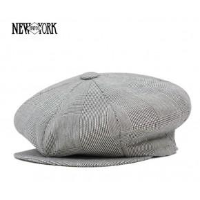 Grey Plaid Linen Baker Boy Cap
