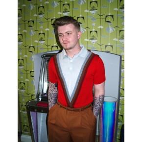 Red V Insert Knitted Shirt