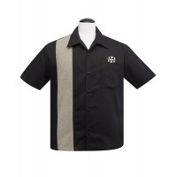 Black/Herringbone Bowling Shirt