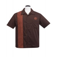 Brown/Herringbone Bowling Shirt