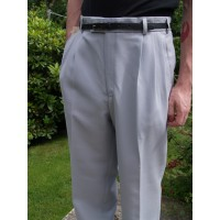 Triple Pleat Light Grey Trousers