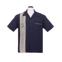 Steady - Navy Blue V8 Pinstripe Shirt