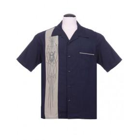 Steady - Navy Blue V8 Pinstripe Shirt