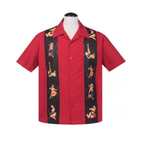 Steady - Red Multi Pinups Shirt