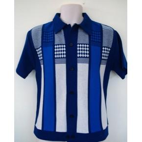 Blue Checkered Knitted Shirt