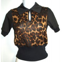 Peter Pan Top Leopard Print
