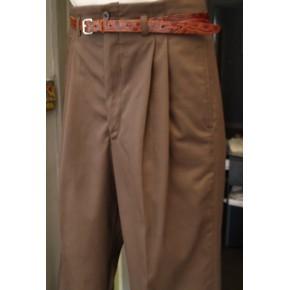 Brown Gaberdine High Waisted Trousers