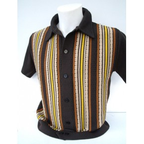 Chocolate Brown Striped Knitted Shirt
