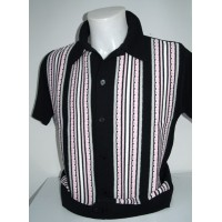 Black/Pink Striped Knitted Shirt