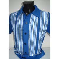 Royal Blue Striped Knitted Shirt
