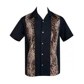 Steady Clothing - Black/Leopard Panel Shirt