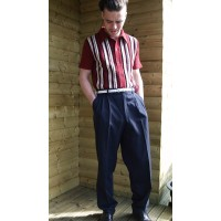 Navy Blue Triple pleat Trousers