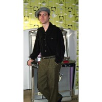 Triple Pleated Olive Fleck Trousers