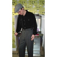 Triple Pleated Grey Fleck Trousers