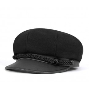 Black Wool Brando Cap