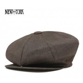 Brown Plaid Linen Baker Boy Cap