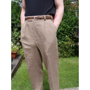 Triple Pleat Fawn Fleck Trousers
