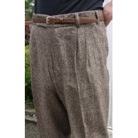 Triple Pleat Brown Fleck Trousers