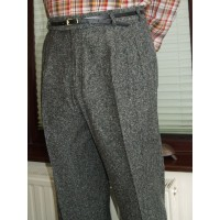 Charcoal Fleck Triple Pleat Trousers