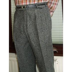 Charcoal Fleck Triple Pleat Trousers