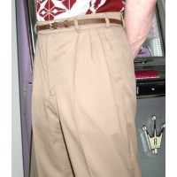 Triple Pleat Beige Trousers