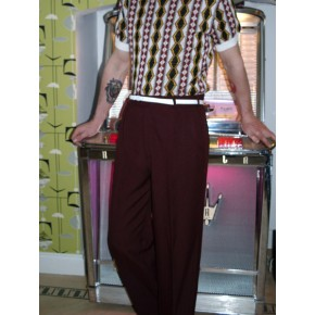 Triple Pleat Burgundy Trousers
