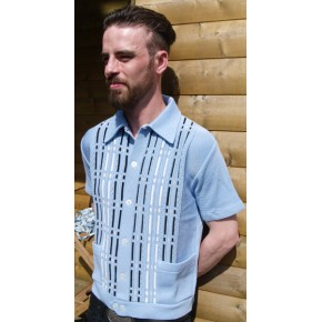 Sky Blue Pockets Knitted Shirt