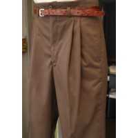 Brown Gaberdine High Waisted Trousers