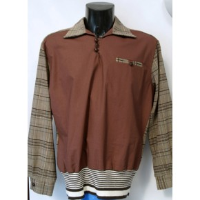 Brown/Plaid L/Sleeve Gaucho shirt