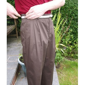 Brown Gaberdine Triple Pleat Trousers