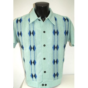 Mint Honeycomb Knitted Shirt