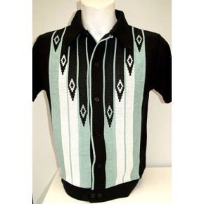 Black/Mint Diamond Knitted Shirt